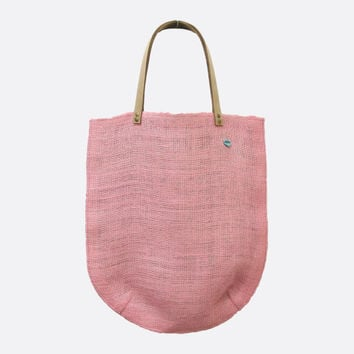 Eco Dusty Pink Burlap Jute Tote Bag  with Nubuck Leather Straps