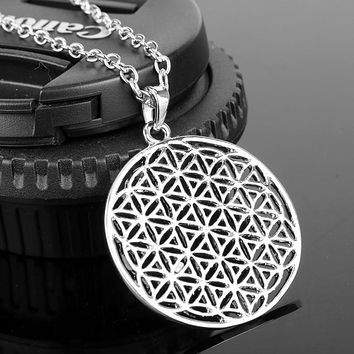 Supernatural Boho Silver Plated Tone Flower of Life Pendant Necklace Mandala Sacred Geometry Jewelry Fleur De Vie Accessories