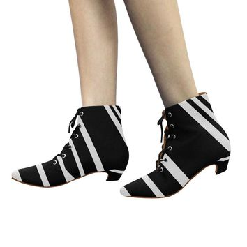 Black and white low heel lace up ankle boots
