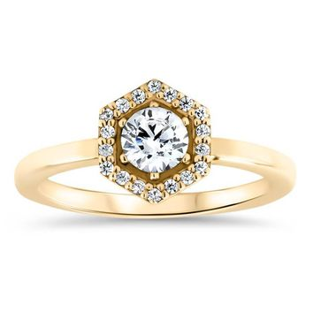 Hexagon Halo Diamond and Moissanite Engagement Ring Unique Ring  - Harper