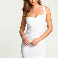White Sweetheart Wrapped Ruche Dress - LoveCulture