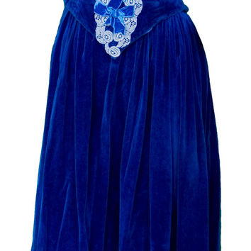 1930s Medium Dress Blue Velvet Peasant Fairy Tale Sleeping Beauty Cosplay Renaissance Faire Snow White Fairy Halloween Folk Milkmaid Lolita
