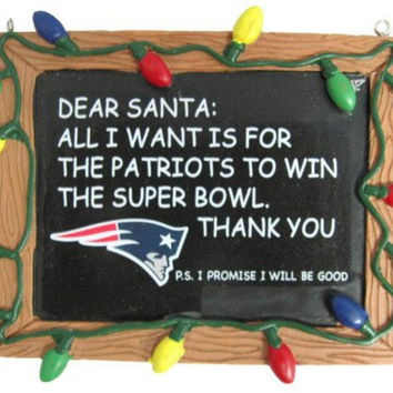 New England Patriots Resin Chalkboard Sign Ornament