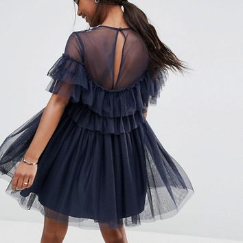 ASOS Tulle Ruffle Mini Dress at asos.com