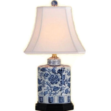"""Beautiful Blue and White Floral Pattern Porcelain Tea Caddy Table Lamp 20"""""""