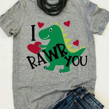 I Rawr You - Dinosaur Hearts Printed - Valentine's Day - Women's T-shirt