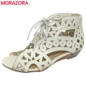 MORAZORA SIZE New 2017 fashion cut outs gladiator sandals women summer wedges low heel