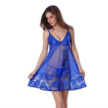 DCCKL3Z 2017 Sexy Nightgown Night gown Sleep dresses Women Sleeping Dress and String Set Deep V Sleepwear Lingerie XXL XXXL