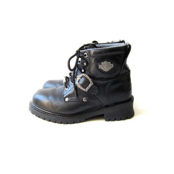 Vintage Harley Davidson Boots Black Leather Motorcycle Boots Grunge Biker Buckled Ankle Boots Vintage 90s Heavy Duty Work Boots Womens Size