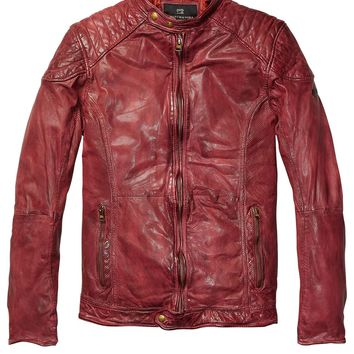 Leather Biker Jacket With Shoulder Panels - Scotch & Soda