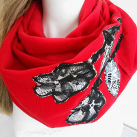 Red Scarf - Fleece Scarf - Red Fleece Scarf - Soft Scarf - Patchwork Scarf - Red Fleece Shawl - Red Scarves - Winter Accessories
