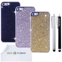 Eco-Fused Case Bundle for iPhone SE, 5S and 5 - including 3 Bling Hard Cases - 2 Stylus Pens - 2 Screen Protectors - Microfiber Cleaning Cloth (Black/Silver/Gold)