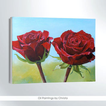 Mother's day red roses painting, oil painting, 8x10i, art, floral, wall decor, spring decoration, flowers , canvas, gift ideas, for her
