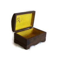 Rustic vintage wooden PIRATE TREASURE CHEST - Shiver me timbers trinket box yellow interior - Hinged nautical jewelry case