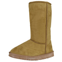 Womens Mid Calf Boots Casual Winter Slip On Comfort Shoes Tan