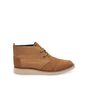 Toms Mateo Chukka Boots Chestnut Brown Embossed Suede 10007038 Mens 9.5