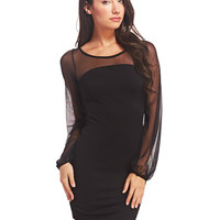 Mesh-Sleeved Bodycon Dress | Wet Seal