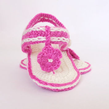 Hot Pink Crochet Baby  Flower, Gladiator Sandals, Baby Crochet Sandals, Newborn Crochet Sandals, Infant Sandals Or Choose Your Color