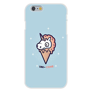 Apple iPhone 6 Custom Case White Plastic Snap On - 'Unicone' Unicorn Ice Cream Cone Cartoon