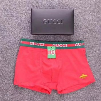 GUCCI New fashion men letter and side bee print underwear shorts Red
