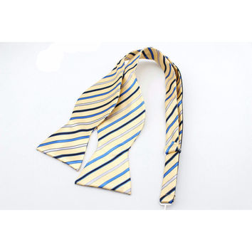 The Striped Bow Tie-Yellow and Navy