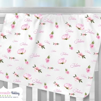 Personalized Floral Baby Name Fleece Blanket
