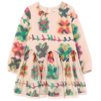 Chloe Girls Colorful Printed Pink Silk Dress (Mini-Me)