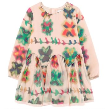 Girls Colorful Printed Pink Silk Dress (Mini-Me)