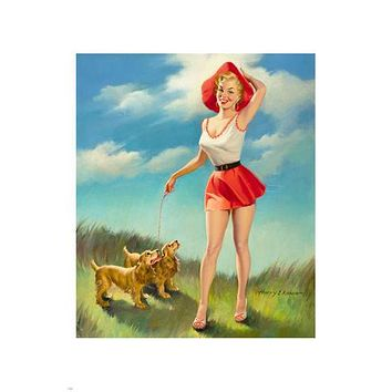 LEGGY blonde pin-up walking DOGS poster 24X36 sexy curvy SKIMPY MINI SKIRT