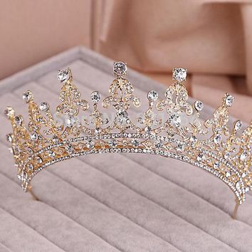 LMFONHS Red/Clear Wedding Bridal Crystal Tiara Crowns Princess Queen Pageant Prom Rhinestone Veil Tiara Headband Wedding Hair Accessory