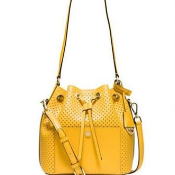 cbe30184f082 Michael Michael Kors Perforated Greenwich Medium Bucket Bag