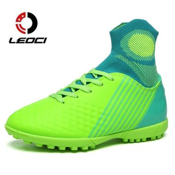 LEOCI Size 33-44 Men Boy Kids Soccer Cleats Turf Soccer Shoes Original Superfly Football Boots With Sock TF Hard Court Sneakers