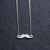 matt sliver mustache necklace --dainty and sliver tone