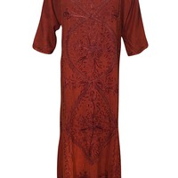 Mogul Womens Maxi Dresses Enzyme Wash Floral Embroidered Tunic Maxi Dress XL: Amazon.ca: Clothing & Accessories