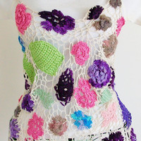 OOAK flower tank top, festival wear, lace crochet top size small/medium