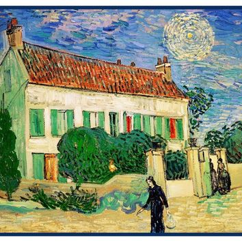 White House in the Sun by Vincent Van Gogh Counted Cross Stitch or Counted Needlepoint Pattern