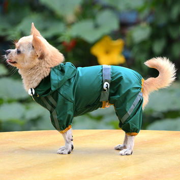 2016 Pet Cloth Jackets Clothing Dog Raincoat Clothes Puppy Glisten Bar Hoody Waterproof Rain Jackets