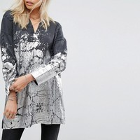 Religion Oversized Jumper With Metallic Paint And Cable Knit at asos.com