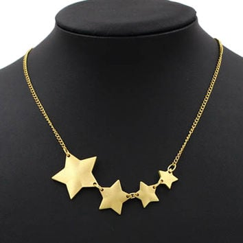 Gold Stars Pendant Chain Necklace