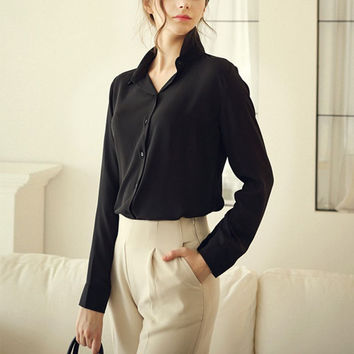 NEW Fashion Women Blouse 5 Color Summer Shirts Stylish Long Sleeve Office Style Blouse Shirt *35