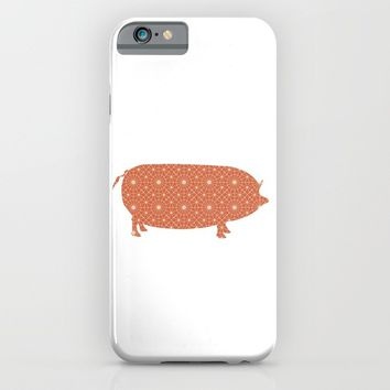PIG OINKY SILHOUETTE WITH PATTERN iPhone & iPod Case by deificus Art