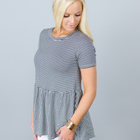 Perfect Striped Peplum Top