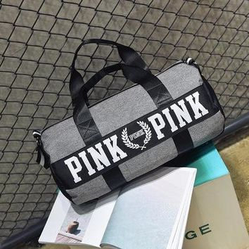 """ Pink "" Printed High Quality Durable Victoria's Secret Like Sport Exercise Carry on Yoga Gym Travel Luggage Bag  _ 13501"