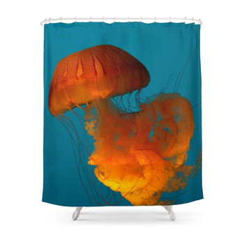 Society6 Jellyfish In The Blue... Shower Curtains