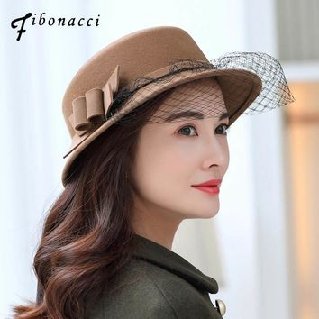 Fibonacci 2018 New Autumn Winter Female Hat Fedoras Bucket Bow Net Yarn Wool Felt Hat Dome Church Dinner Women Fedora Hats