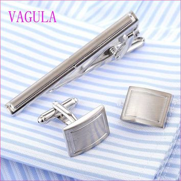 VAGULA Stylish Cufflinks and Tie Clip Set
