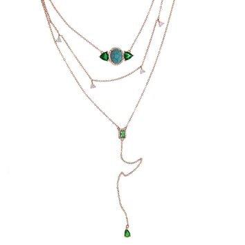 Emerald Turquoise Stone  Triple Necklace