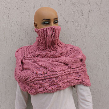Pink Capelet Turtleneck Sweater Knit Bolero Bridesmaids Shawl Set Chunky Stole EXPRESS SHIPPING