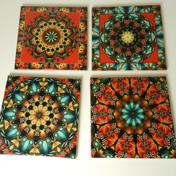 Colorful Mandala Art Ceramic Drink Coasters Set Four Sublimated Handmade