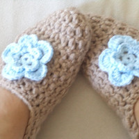 Adult Wool Crochet Slippers, Thick, Simply slippers, Women slippers  house shoes.